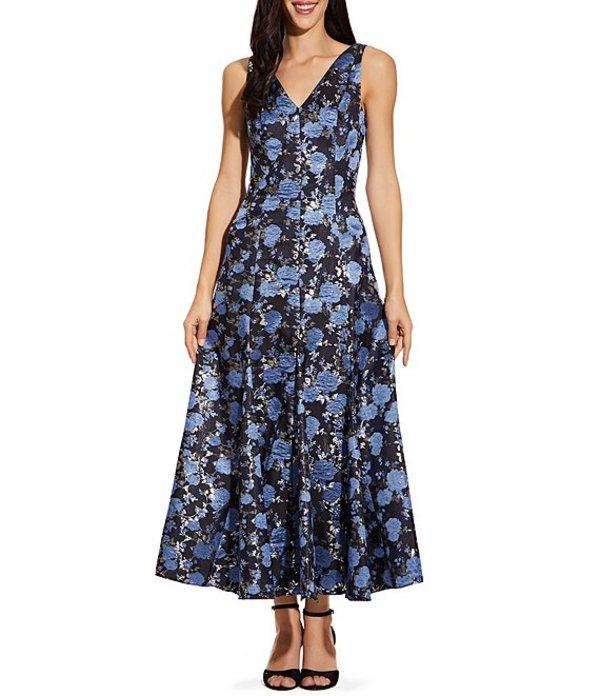 アドリアナ パペル レディース ワンピース トップス V-Neck Metallic Floral Print Tea Length A-Line Dress Blue Multi