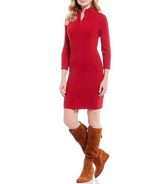 トッミーバハマ レディース ワンピース トップス Pickford Cotton Blend Ribbed Knit Full Zip Sheath Dress Jester Red