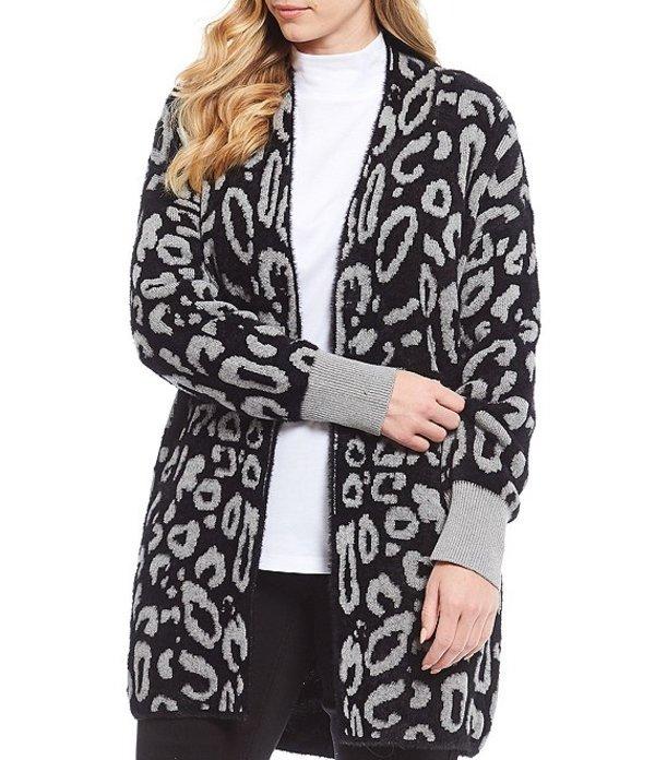 ウエストバウンド レディース カーディガン アウター Plus Size Leopard Print Fuzzy Open Front Cardigan Black Animal