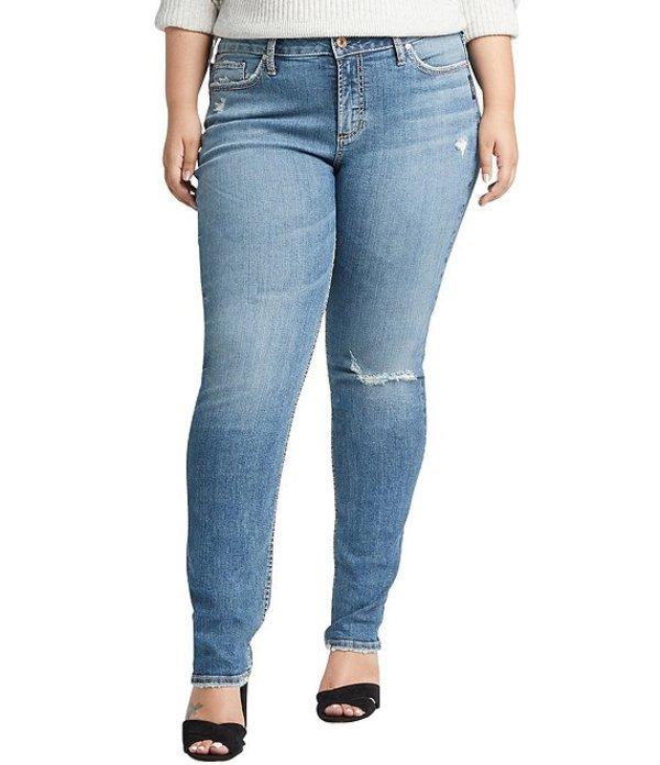 シルバー ジーンズ レディース デニムパンツ ボトムス Plus Size Distressed Avery High Rise Slim Leg Jeans Indigo