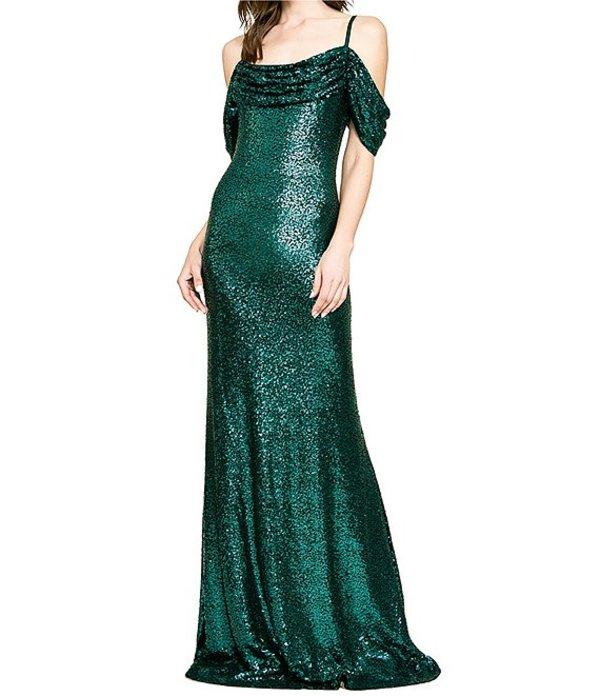 タダシショージ レディース ワンピース トップス Drape Shoulder Square Neck Allover Sequin Gown Elm