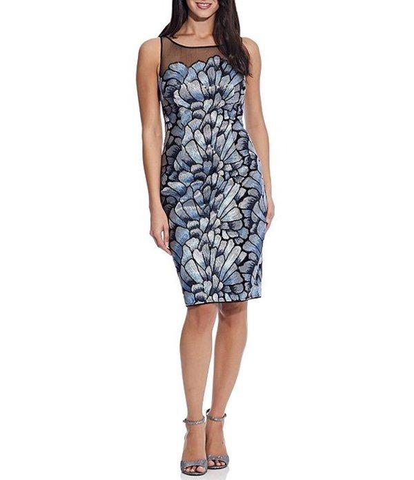 アドリアナ パペル レディース ワンピース トップス Sequin Embroidered Sleeveless Sheath Dress Silver Blue