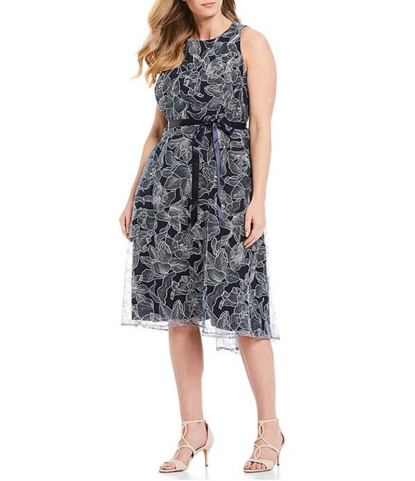 タハリエーエスエル レディース ワンピース トップス Plus Size Size Floral Embroidered Sleeveless Satin Ribbon Tie Waist Midi Dress Navy/Silver