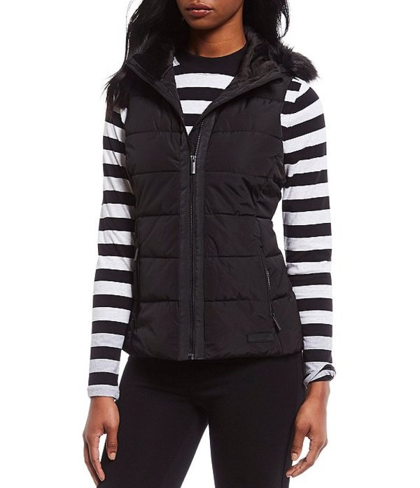 カルバンクライン レディース ベスト アウター Performance Removable Faux Fur Hood Quilted Vest Black
