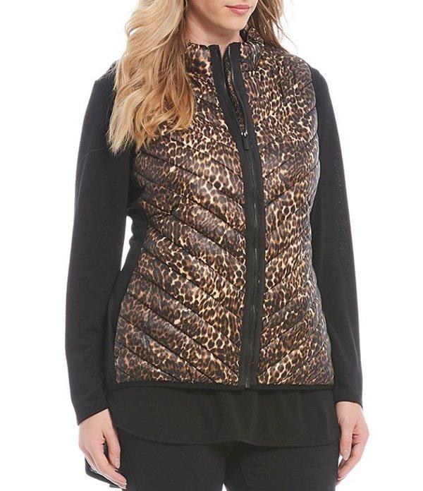 カルバンクライン レディース ベスト アウター Plus Size Performance Leopard Print Puffer Vest Metallic Prowl Combo