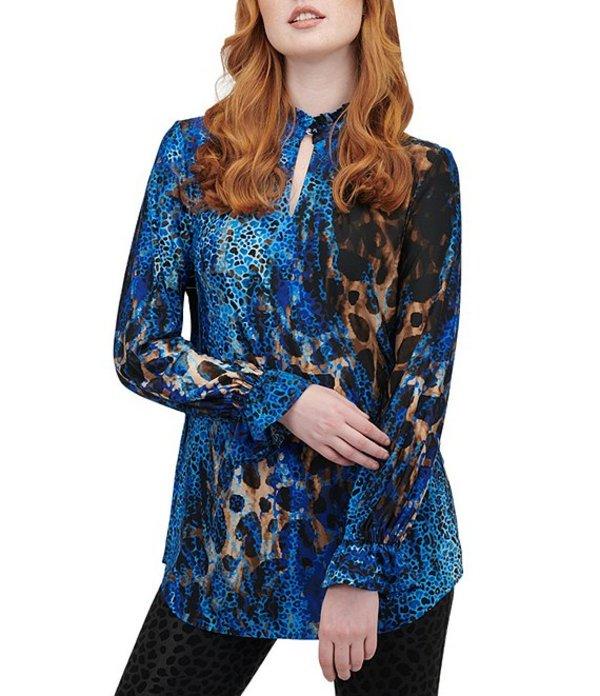 ピーター ナイガード レディース シャツ トップス Knit Chiffon Long Sleeve Ruffle Neck Leopard Print Tunic Nygard Blue/Multi/Animal