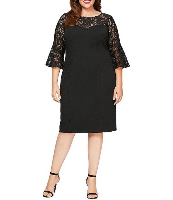 アレックスイブニングス レディース ワンピース トップス Plus Size Lace Illusion Bell Sleeve Crepe Sheath Dress Black