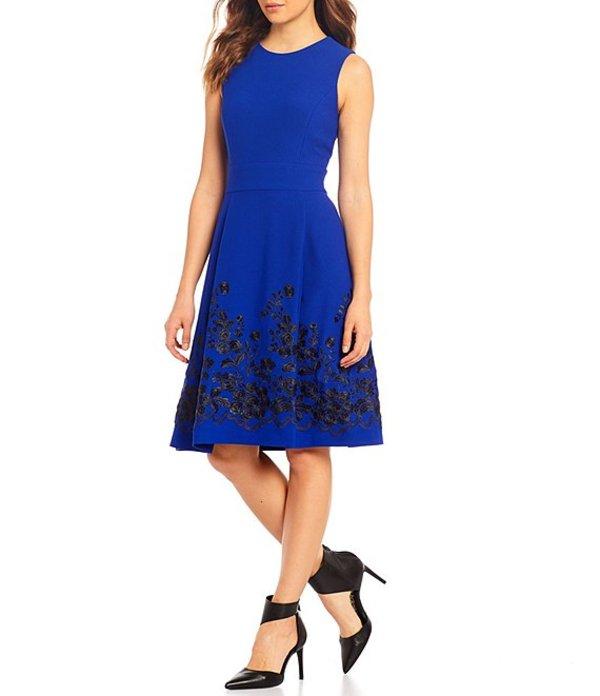 カルバンクライン レディース ワンピース トップス Embroidered Hem Sleeveless Fit and Flare Crepe Dress Ultramarine/Black
