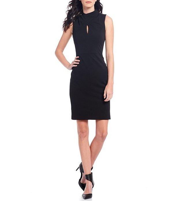 カルバンクライン レディース ワンピース トップス Scuba Crepe Keyhole Mockneck Sleeveless Sheath Dress Black