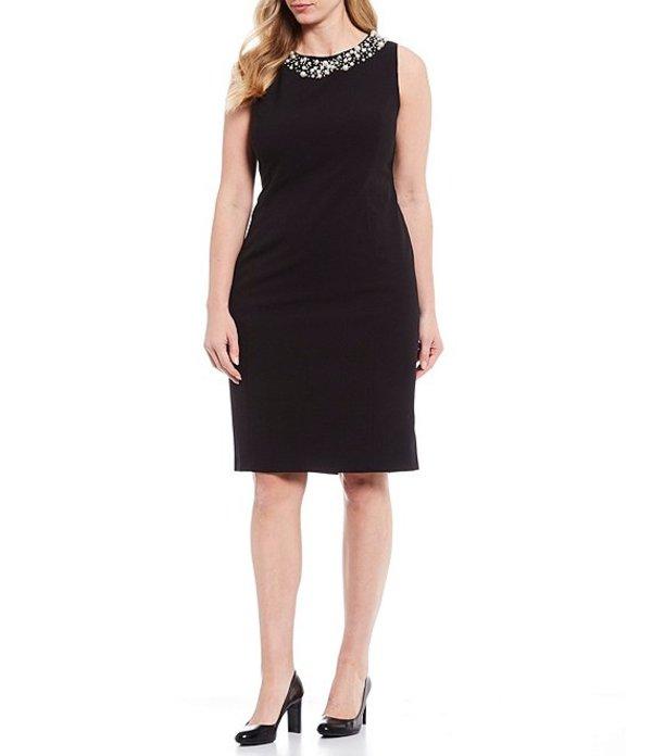 カルバンクライン レディース ワンピース トップス Plus Size Crepe Pearl Neckline Sleeveless Sheath Dress Black