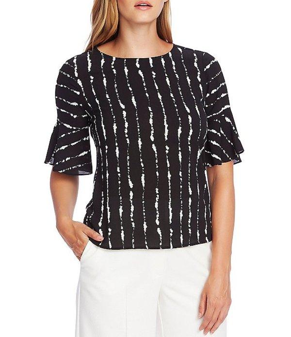 ヴィンスカムート レディース シャツ トップス Short Sleeve Stripe Print Flutter Cuff Blouse Rich Black