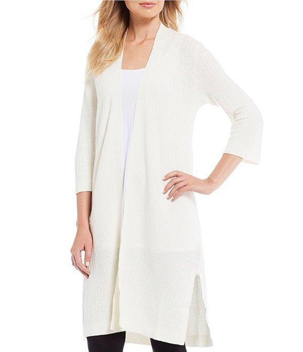 エイリーンフィッシャー レディース カーディガン アウター Petite Size Organic Linen Crepe Stretch Simple 3/4 Long Cardigan Soft White