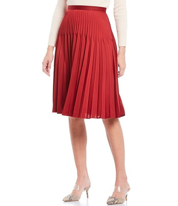 アントニオ メラーニ レディース スカート ボトムス Jules Pleated Satin A-Line Skirt Crimson