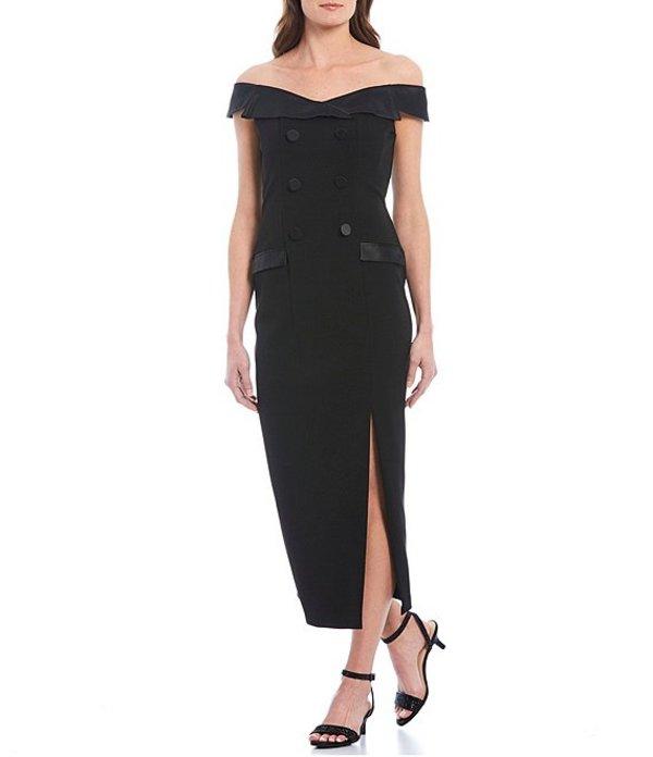 アドリアナ パペル レディース ワンピース トップス Off-the-Shoulder Tuxedo Slit Front Midi Dress Black