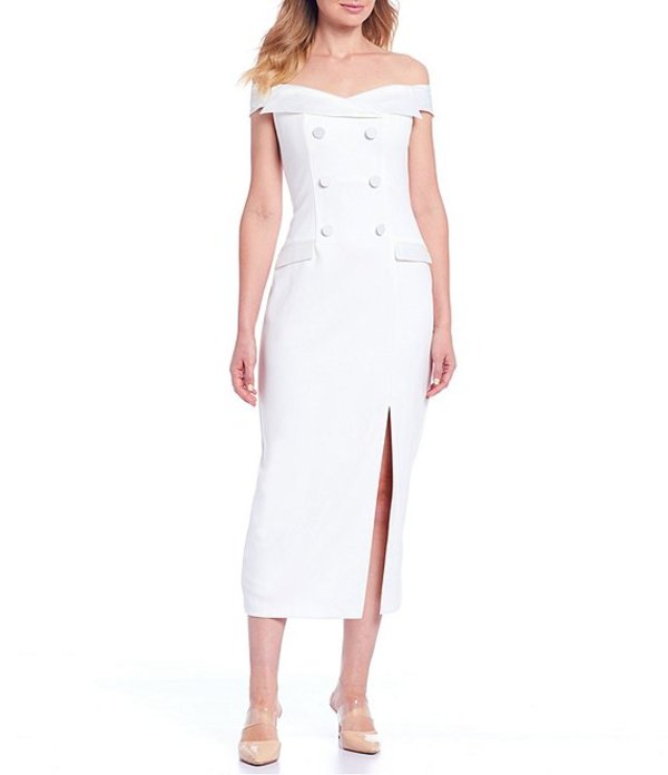 アドリアナ パペル レディース ワンピース トップス Off-the-Shoulder Tuxedo Slit Front Midi Dress Ivory