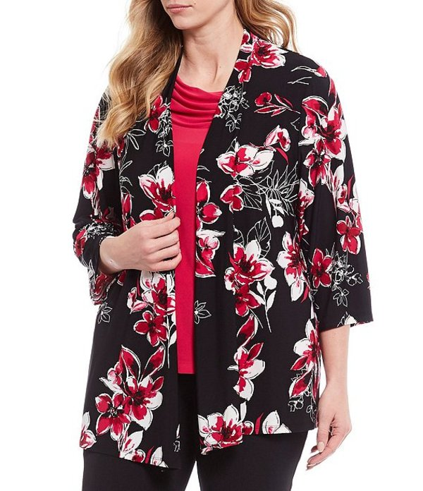 カスパール レディース カーディガン アウター Plus Size Floral Bouquet Print Knit Jersey 3/4 Sleeve Open Front Cozy Cardigan Lipstick/Multi