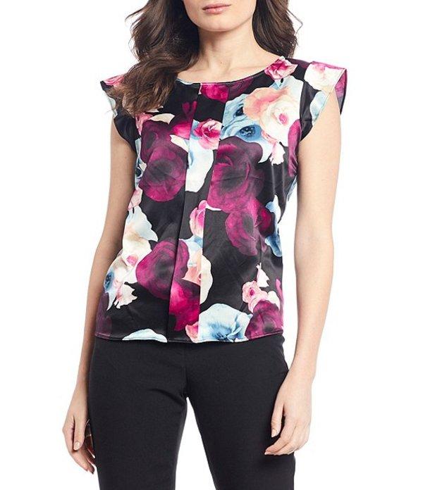 タハリエーエスエル レディース シャツ トップス Petite Size Cap Sleeve Stretch Charmeuse Floral Printed Pleat Front Top Multi Evening Gardenia