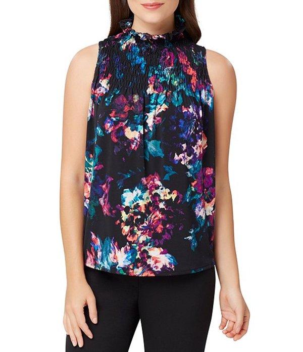 タハリエーエスエル レディース シャツ トップス Petite Size Sleeveless Floral Print Jersey Smock Neck Top Multi