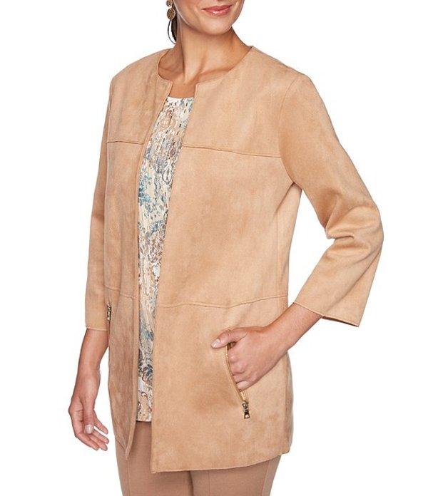 ルビーアールディー レディース ジャケット・ブルゾン アウター Petite Size Stretch Faux Suede Jewel Neck Zipper-Pocket Open Front Jacket Camel