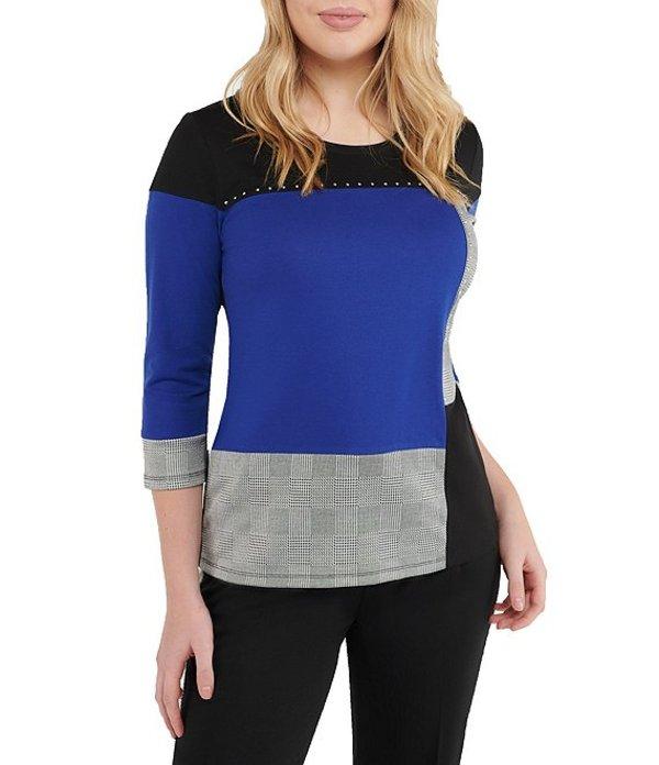 アリソン デイリー レディース Tシャツ トップス Colorblock Embellished Detail 3/4 Sleeve Top Cobalt Check Block