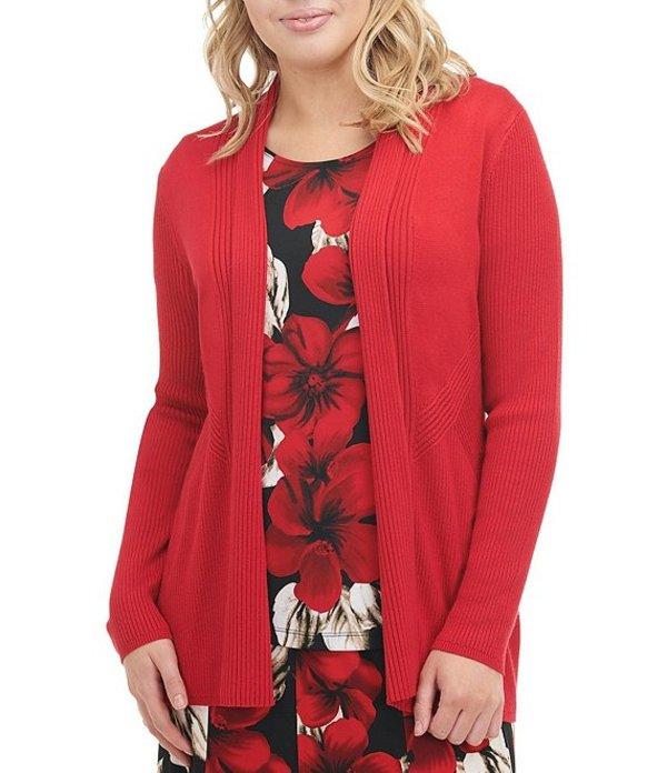 アリソン デイリー レディース カーディガン アウター Petite Size Ribbed Knit Open Front Cardigan Red