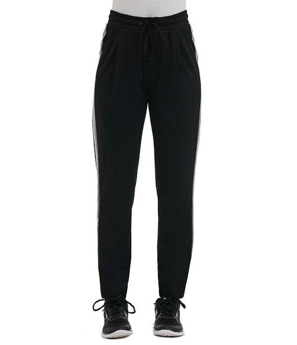 アリソン デイリー レディース デニムパンツ ボトムス Petite Size Ponte Knit Tuxedo Stripe Drawstring Pull-On Pants Black