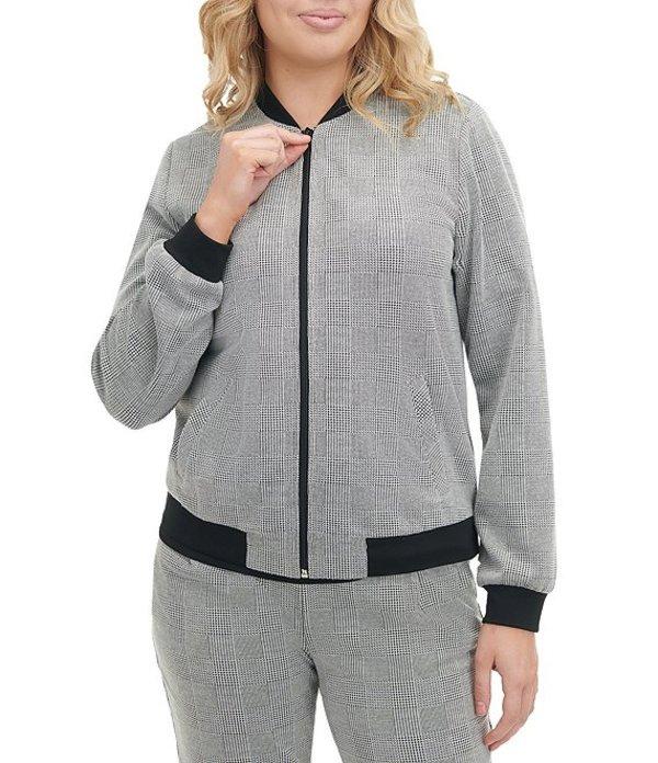 アリソン デイリー レディース ジャケット・ブルゾン アウター Petite Size Glen Plaid Ponte Knit Zip Front Bomber Jacket Grey Glen Plaid