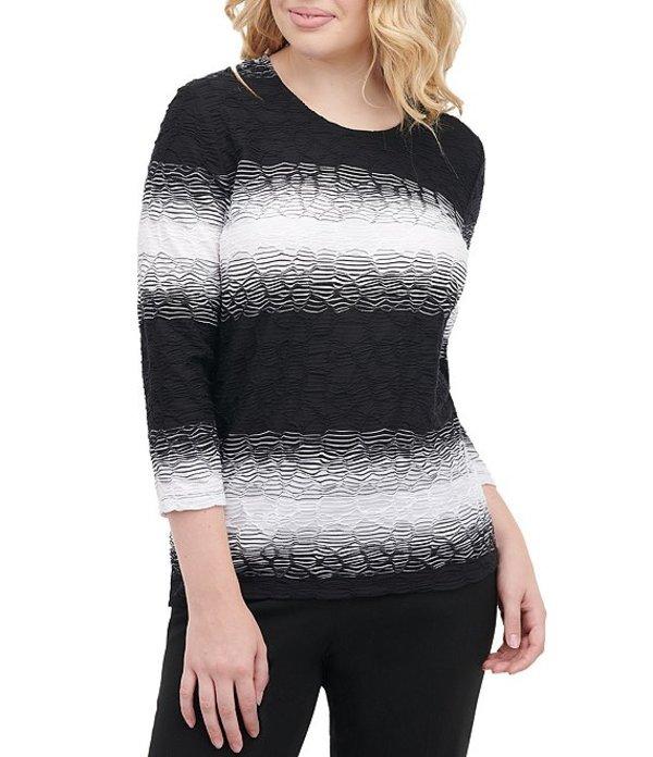 アリソン デイリー レディース Tシャツ トップス Petite Size Ombre Wave Texture Knit 3/4 Sleeve Top Black Ombre