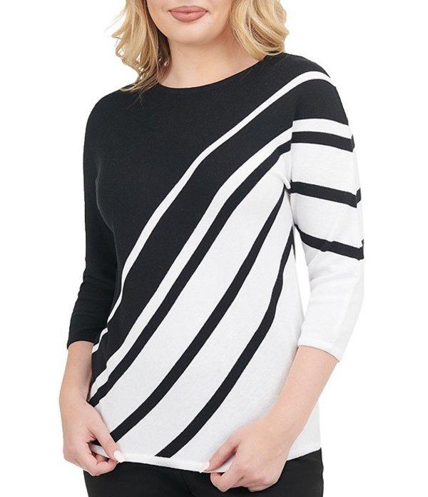 アリソン デイリー レディース Tシャツ トップス Petite Size Striped Cotton Blend Wide Crew Neck Dolman Sleeve Pullover Black/White Stripe