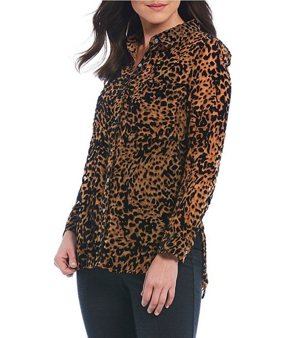 イントロ レディース シャツ トップス Petite Size Cheetah Print Velvet Burnout Button Down Long Sleeve Top Ebony Black/Cheetah Print