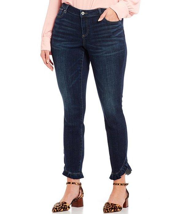 セセ レディース デニムパンツ ボトムス Cece Plus Size Ruffle Hem Skinny Ankle Jeans Dark Authentic