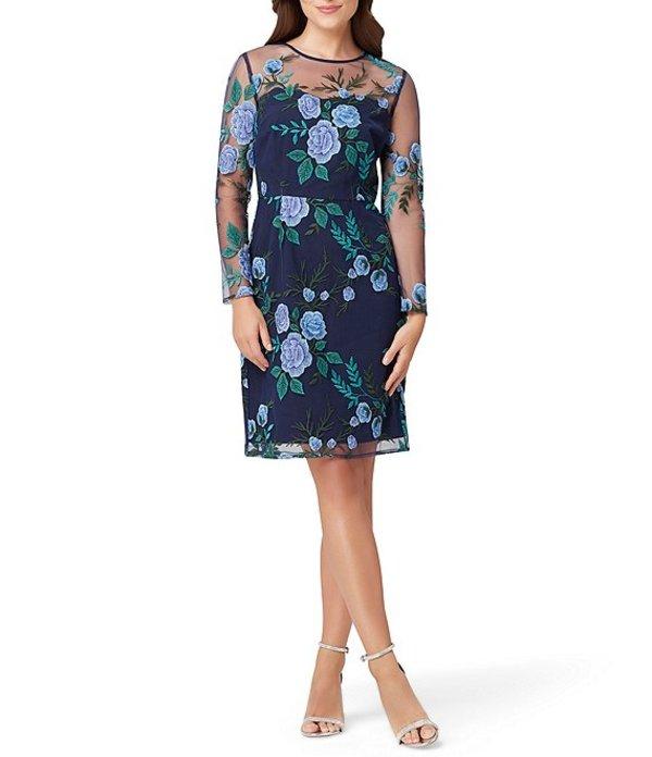 タハリエーエスエル レディース ワンピース トップス Illusion Neck Long Sleeve Floral Mesh Embroidered Sheath Dress Navy Blue Green