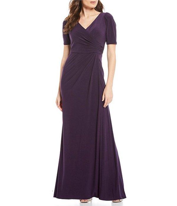 アドリアナ パペル レディース ワンピース トップス V-Neck Jersey Side Draped Gown Aubergine