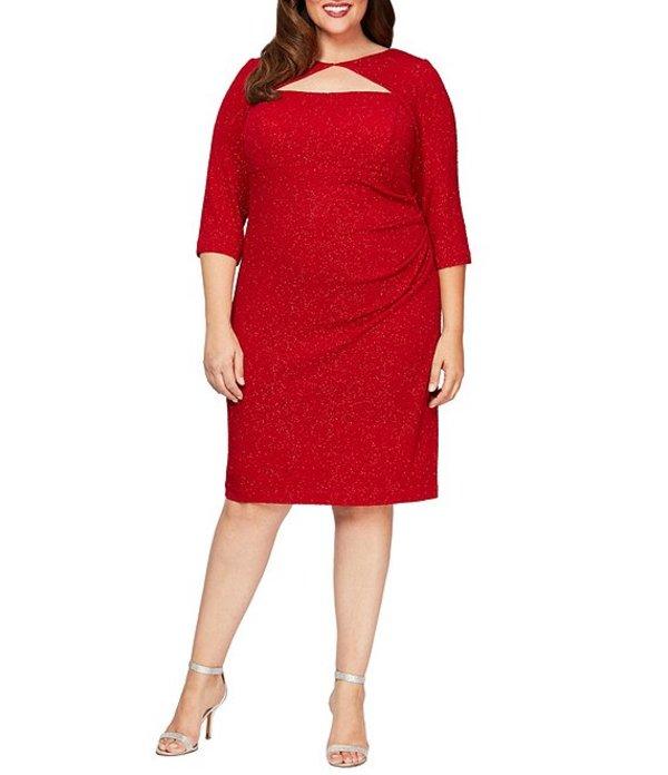 アレックスイブニングス レディース ワンピース トップス Plus Size Jacquard Shimmer Knit Cut Out Neckline 3/4 Sleeve Sheath Dress Red