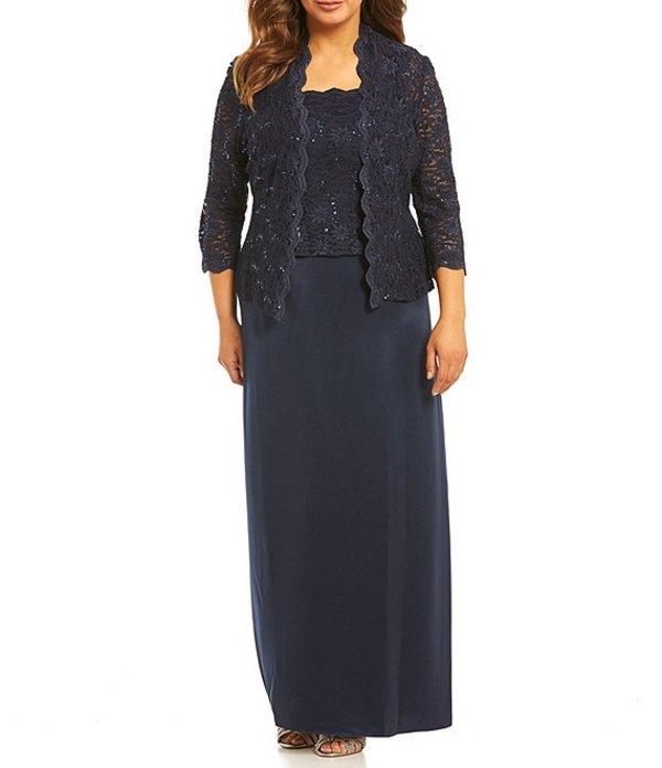 アレックスイブニングス レディース ワンピース トップス Plus A-Line Jacket Dress Midnight