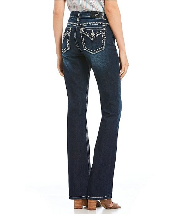 ミスミー レディース デニムパンツ ボトムス Heavy Stitch Flap Pocket Curvy Fit Bootcut Jeans Dark Blue