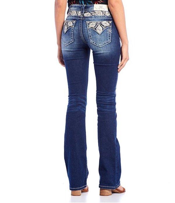 ミスミー レディース デニムパンツ ボトムス Peacock Feather Embellished Pocket Bootcut Jeans Dark Blue