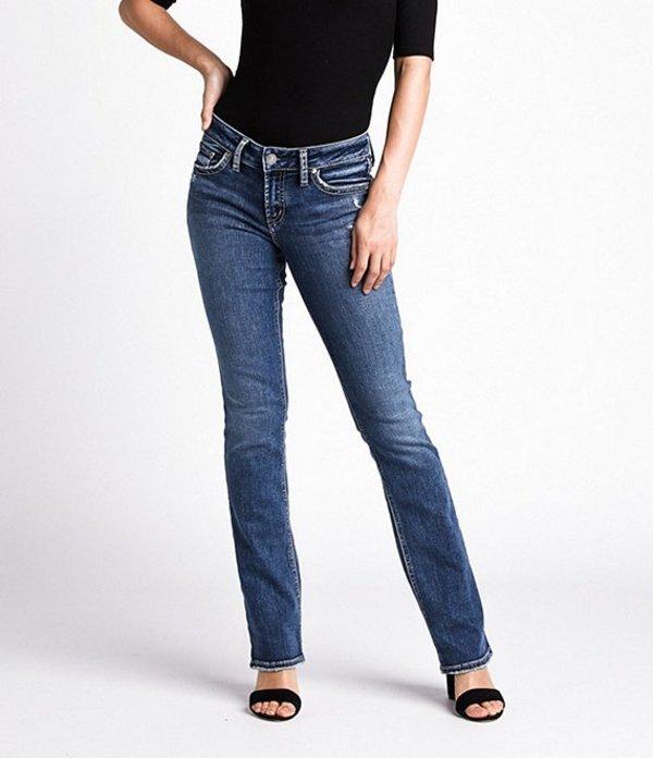 シルバー ジーンズ レディース デニムパンツ ボトムス Suki Faux Flap Pocket Slim Bootcut Jeans Indigo
