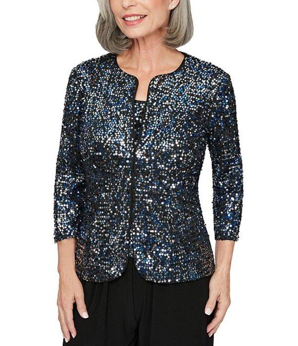 アレックスイブニングス レディース ワンピース トップス Petite Size Allover Sequin 3/4 Sleeve Twinset Black/Blue