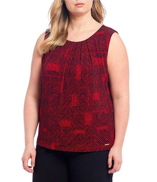 カルバンクライン レディース Tシャツ トップス Plus Size Geo Print Matte Jersey Pleat Neck Top Red/Black