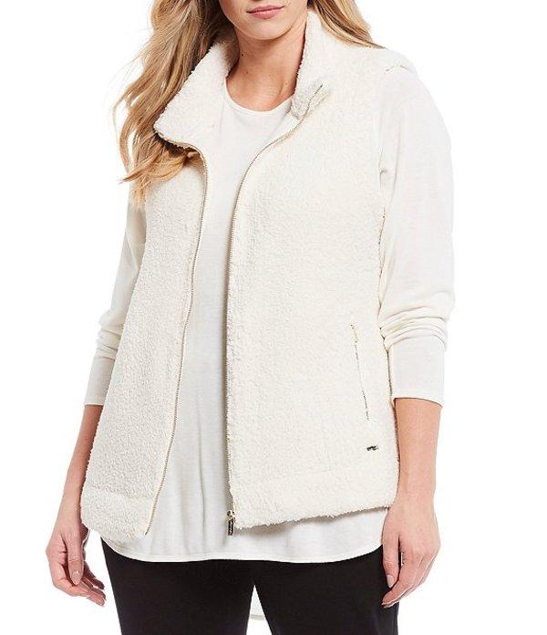 カルバンクライン レディース ベスト アウター Plus Size Mock Neck Zipper Front Sherpa Vest Soft White
