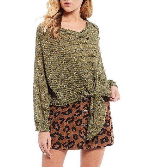 ブルーペッペーブルーペッパー レディース パーカー・スウェット アウター Stripe Tie Front Sweater Olive Multi