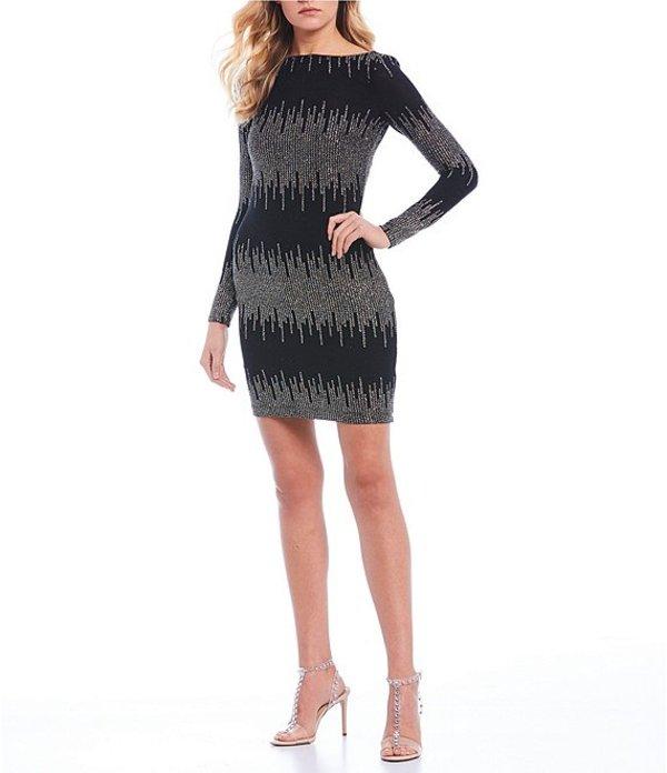 ビーダーリン レディース ワンピース トップス Long Sleeve Glitter Slinky Bodycon Dress Black Multi