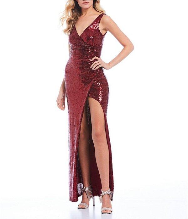 ビーダーリン レディース ワンピース トップス Sleeveless Surplus V-Neck Sequin Long Dress Burgundy