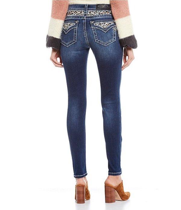 ミスミー レディース デニムパンツ ボトムス Embellished Leopard Print Yoke Skinny Jeans Dark Blue
