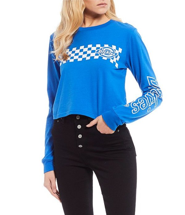 ディッキーズ レディース Tシャツ トップス Long Sleeves Cropped Swirl Logo Graphic Tee Blue
