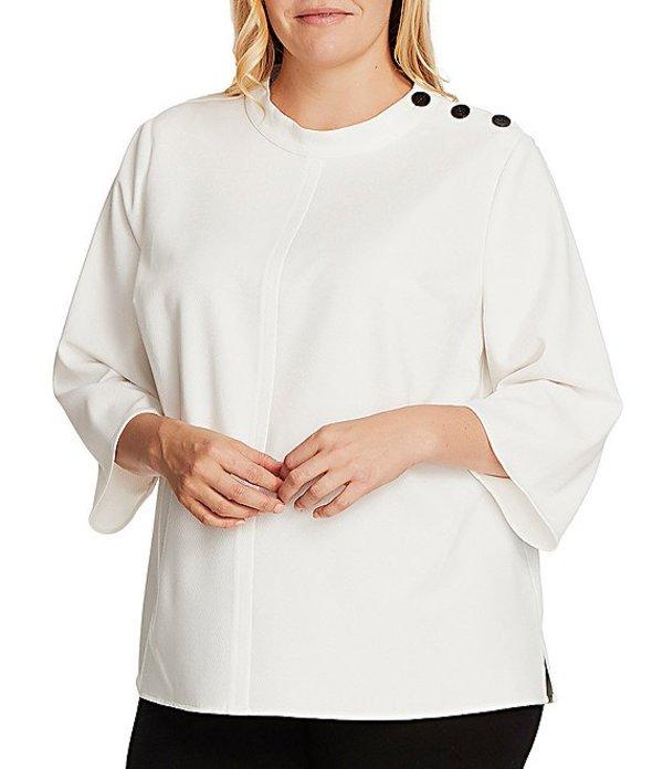 ヴィンスカムート レディース シャツ トップス Plus Size 3/4 Sleeve Mock Neck Button Shoulder Blouse Pearl Ivory
