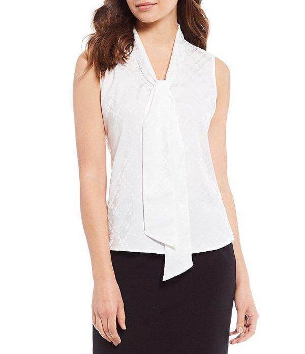 カルバンクライン レディース シャツ トップス Petite Size Solid Jacquard Tie V-Neck Sleeveless Top Cream/Cream