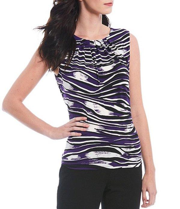 カルバンクライン レディース Tシャツ トップス Petite Size Zebra Print Matte Jersey Pleat Neck Sleeveless Top Night Multi