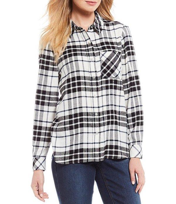 ウエストバウンド レディース シャツ トップス Petite Size Plaid Print One-Pocket Shirt Black/White Plaid